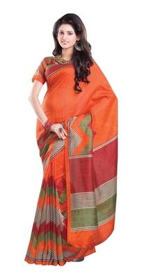 Aesha Designer Orange Printed Silk Saree with matching blouse