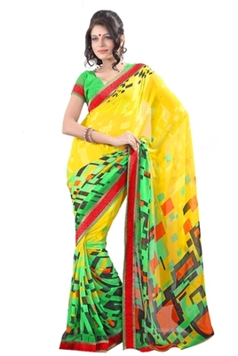 Aesha Designer multicolor georgette sarre with matching blouse