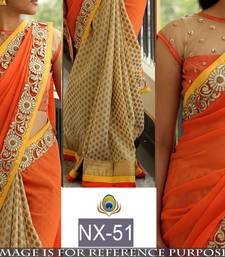 Buy Orange embroidered georgette saree with blouse heavy-work-saree online