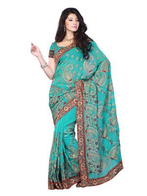 Aqua Blue Color Georgette Bollywood Party Wear Designer Saree