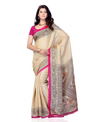 Beige Color Art Silk Party Wear Fancy Saree