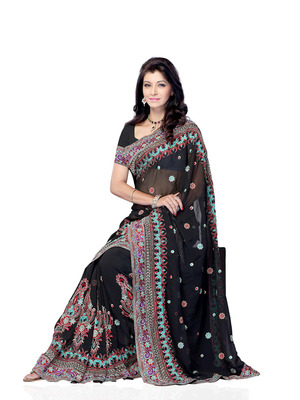 Black Color Georgette CasualOffice Wear Fancy Saree