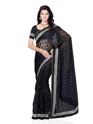 Black Color Net Jacquard Party Wear Fancy Designer Saree