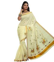 Buy Cream embroidered cotton saree with blouse hot-deal online