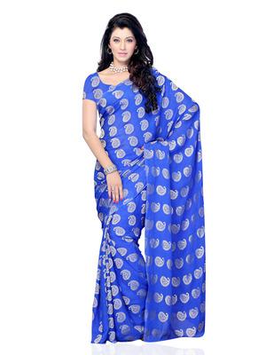 Blue Color Jacquard OfficeCasual Wear Saree