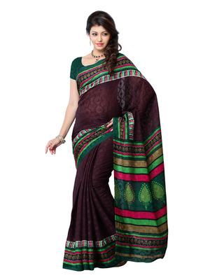 Brown And Green Color Art Silk Party Wear Fancy Saree