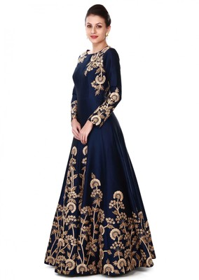 Navy blue embroidered taffeta salwar with dupatta