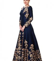 Buy Navy blue embroidered taffeta salwar with dupatta anarkali-salwar-kameez online