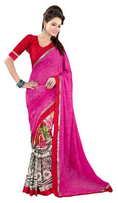 Pink Printed Faux Georgette,Chiffon Saree With Blouse