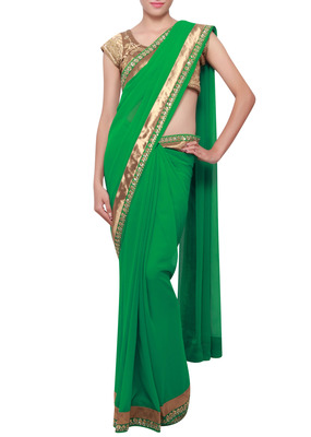 Green saree with lurex and sequence border