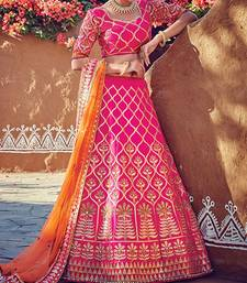 Buy Pink embroidered silk semi-stitched lehenga with dupatta lehenga online