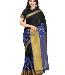 Buy Black silk solid patchwork saree with blouse kanchipuram-silk-saree online