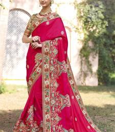 Buy Magenta embroidered silk saree with blouse wedding-saree online