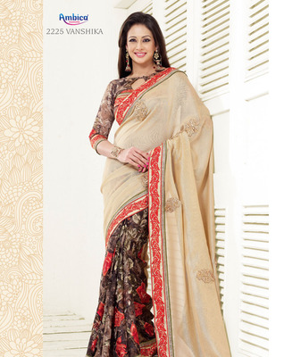 Magnificent Beije & Brown Polyester Georgette Saree