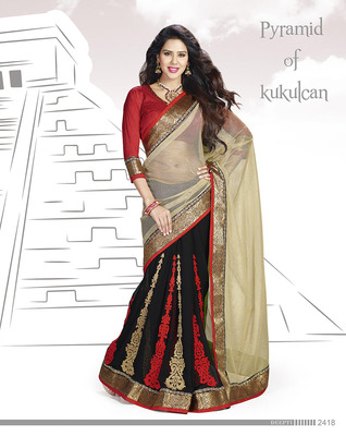 Magnificent Red &Black Net Saree With Embroidery Work