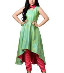 Buy Indowestern green paper silk collared long top kids-top online