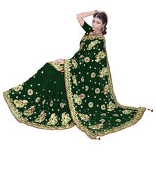 Buy Green embroidered faux georgette saree with blouse bridal-saree online