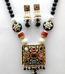 Buy designer navratan black beads necklace black-friday-deal-sale online
