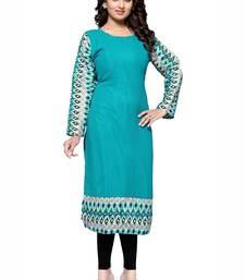 Buy Turquoise plain georgette stitched kurtas-and-kurtis kurtas-and-kurtis online