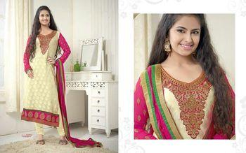 Cream Embroidery Georgette unstiched  party wear salwar kameez