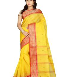 Buy Yellow hand woven cotton saree with blouse handloom-saree online