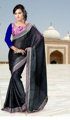 Black Partywear Designer Chiffon Saree