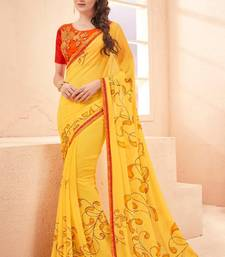 Buy Yellow printed georgette saree with blouse fancy-saree online