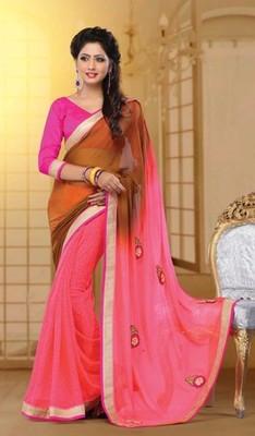 Pink Partywear Designer Georgette Saree