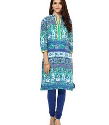 Buy Jaipur Kurti Women's Cotton Turquoise colour Kurti kurtas-and-kurti online