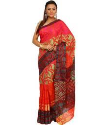 Buy Orange woven cotton saree with blouse banarasi-saree online