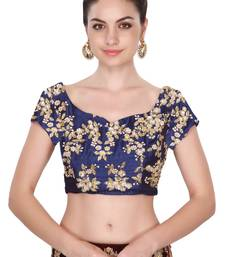 Buy Short sleeves navy blue embroidered unstitched blouse for women blouse-fabric online
