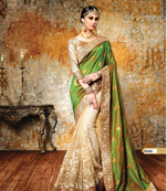Buy Green woven georgette saree with blouse