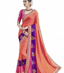 Buy Peach printed art silk sarees saree with blouse art-silk-saree online
