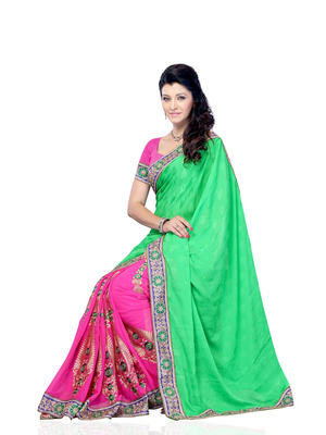 Green And Pink Color Jacquard And Georgette Bollywood Party Wear Designer Saree