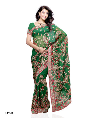 Green Color Georgette FestivalParty Wear Designer Saree