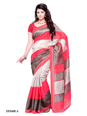 Grey And Red Color Art Silk Party Wear Fancy Saree