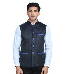 Buy Maroon dot poly cotton round neck men jacket nehru-jacket online