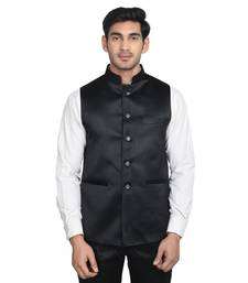 Buy Maroon plain poly cotton round neck men jacket men-festive-wear online