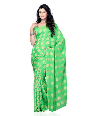 Parrot Green Color Jacquard OfficeCasual Wear Saree