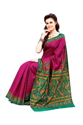 Raani Pink and Multicolor Raw Silk Saree