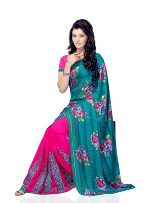 Sea Green And Magenra Color Jacquard And Georgette Bollywood Party Wear Designer Saree