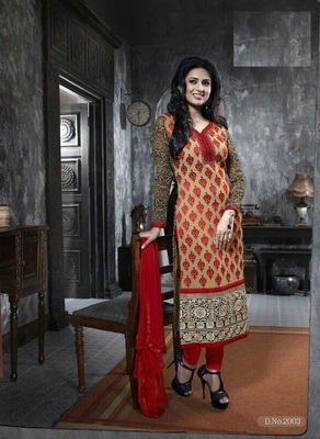 Beige Embroidery Pure Georgette Semi Stitched Designer Straight Suit
