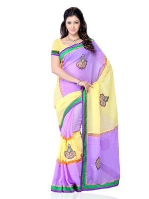 Yellow And Purple Color Georgette Bollywood Party Wear Designer Saree