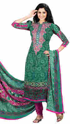 Striking Green Colored Printed Pashmina Salwar Kameez