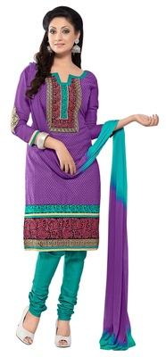 Striking Purple Colored Embroidered Cotton Salwar Kameez