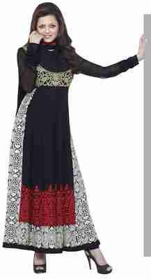 Superb Black Colored Embroidered Georgette Salwar Kameez