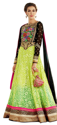 Stunning Green Colored Net Brasso Anarkali