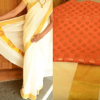 Off-white kerala kasavu saree with orange brocade blouse piece