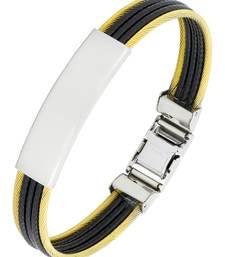 Buy Id biker rope black 316l surgical stainless steel 18k gold plated kada bangle bracelet for men men-bracelet online