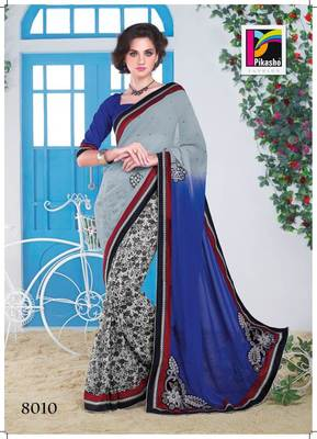 Grey Blue And Beige Party Wear Cutpatch Art silk Saree white blouse piece